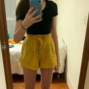 American Eagle high waist yellow paper bag shorts